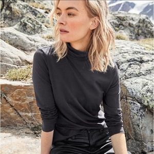 Peruvian Connection Gray Turtleneck Top L